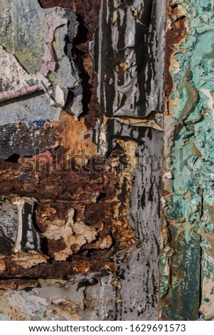 different colors on rusty metal, metal corroded texture, rusty metal background