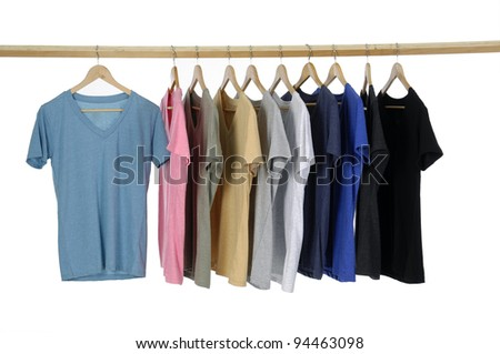 different colors on wooden hangers