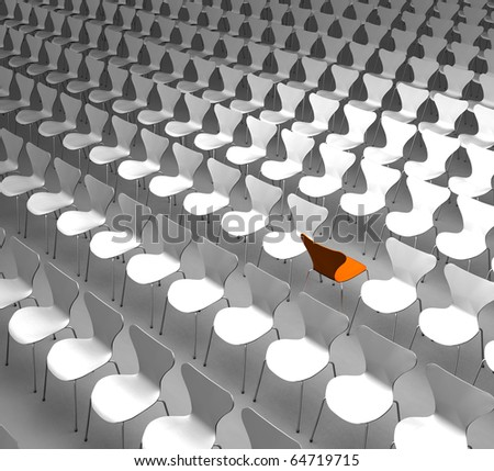 Different - Conceptual rendering showing a lot of chairs with one of them turned around as a symbol for being different