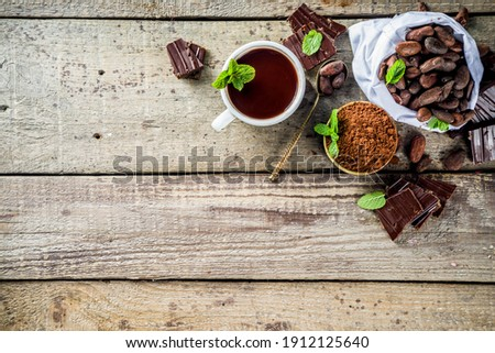Different conditions of cocoa. Various cocoa - beans, beans, ground, crushed cocoa powder, chocolate paste, chocolate pieces and hot chocolate in a cup