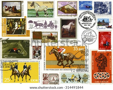 Different countries - before 1990: Collage of stamps issued by different countries on the theme of Horses