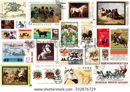 Different countries - 1960 to 2012: A collage of postage stamps of different countries on the theme of horses was published from 1960 to 2012