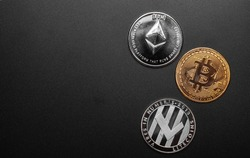 different cryptocurrencies coins btc, ltc and eth isolated on black background, copy space left