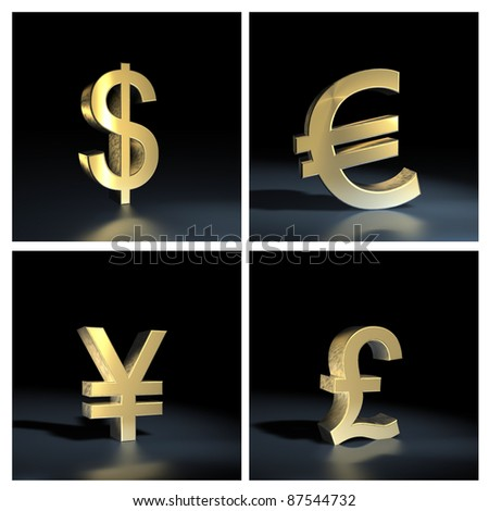 Different currency symbols  over black background