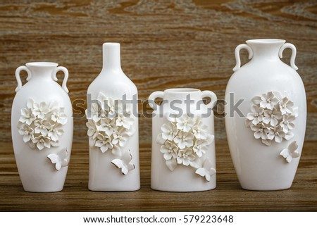 Different Decorative White Vase With 3d Flower And Butterfly Designs