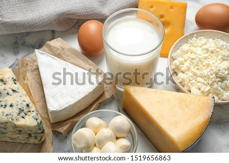 Different delicious dairy products on table, closeup Stock photo ©