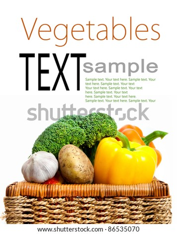 different delicious summer vegetables on the table with sample text