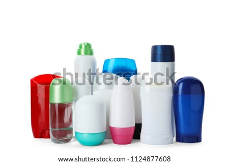 Different deodorants on white background. Skin care