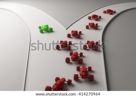Different direction concept with abstract green car going in one direction and flow of red cars in another. 3D Rendering