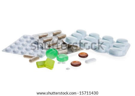different drugs on white background