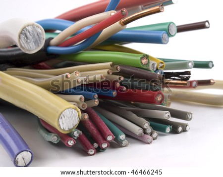 Different electric cables. Copper, aluminium, central core, wire core.
