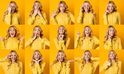 Different Emotions Collage. Set Of Girl Emotional Portraits Over Yellow Background