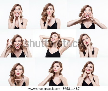 Different emotions collage. Set of handsome emotional girl isolated over whait background. Hamming woman. Female different emotions. #695811487