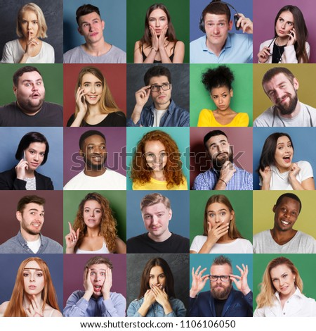 Different emotions collage. Set of male and female emotional portraits. Young diverse people grimacing and gesturing on camera at colorful studio backgrounds #1106106050