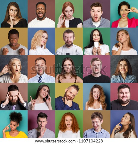 Different emotions collage. Set of male and female emotional portraits. Young diverse people grimacing and gesturing on camera at colorful studio backgrounds #1107104228