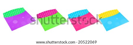 different empty colorful envelopes  on a white background