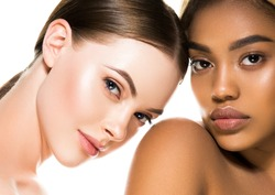 Different ethnicity women beauty skin portrait, ethnic woman beautiful healthy skin face