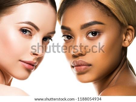 Different ethnicity women beauty skin portrait, ethnic woman beautiful healthy skin face #1188054934