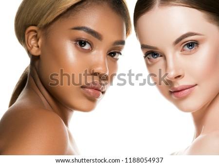Different ethnicity women beauty skin portrait, ethnic woman beautiful healthy skin face #1188054937