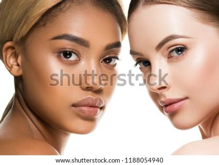Different ethnicity women beauty skin portrait, ethnic woman beautiful healthy skin face #1188054940