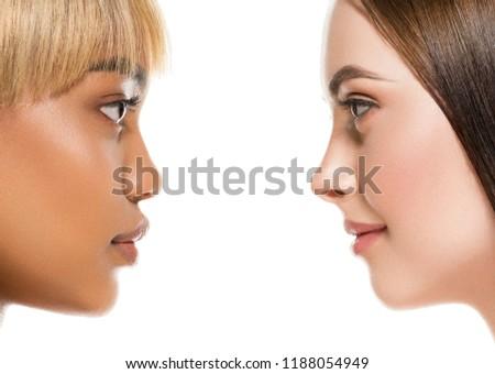 Different ethnicity women beauty skin portrait, ethnic woman beautiful healthy skin face #1188054949