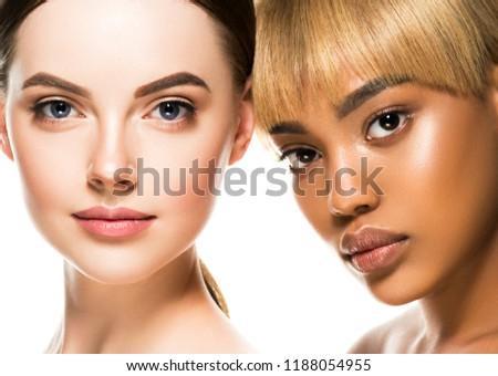 Different ethnicity women beauty skin portrait, ethnic woman beautiful healthy skin face