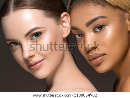 Different ethnicity women beauty skin portrait, ethnic woman beautiful healthy skin face #1188054982