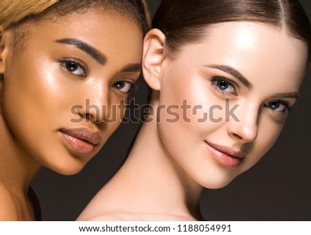Different ethnicity women beauty skin portrait, ethnic woman beautiful healthy skin face #1188054991