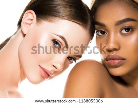 Different ethnicity women beauty skin portrait, ethnic woman beautiful healthy skin face #1188055006