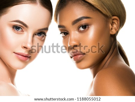Different ethnicity women beauty skin portrait, ethnic woman beautiful healthy skin face #1188055012