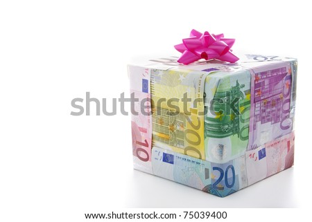 Different euro bills packed as a present isolated on a white background