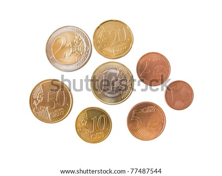 Different euro coins and cents isolated in white