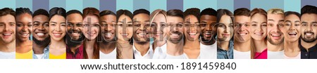 Different Faces Collage. Smiling Multiethnic Ladies And Men Looking At Camera, Row Of Portraits On Blue Studio Backgrounds. Collection Of Beautiful Human Headshots. Panorama Сток-фото ©
