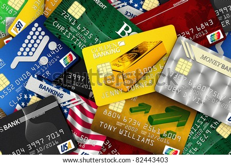 Different fake credit cards spread out. All logos, banks and names are fake and are NOT real.
