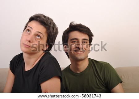 different feelings or emotions, sister is unhappy brother is happy