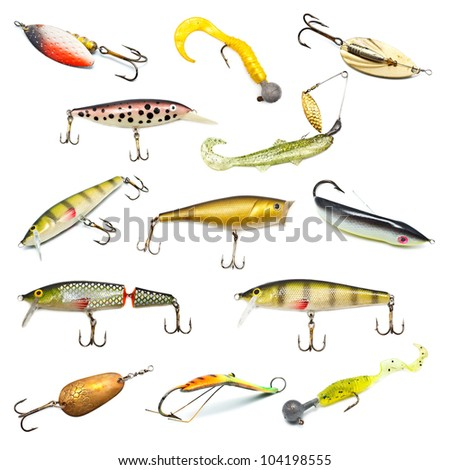 different fishing baits isolated on white background