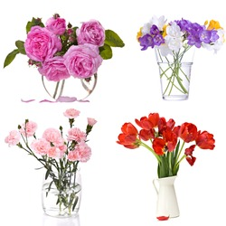 Different flowers in vase isolated over white