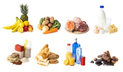 Different food and groceries items grouped by categories, isolated on white background