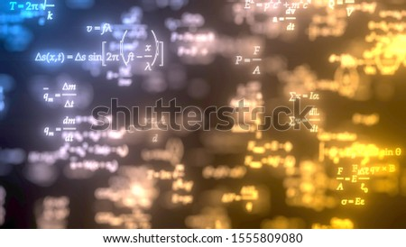 different formulas glowing in dark. suitable for mathematic, physics study and science themes. 3d illustration