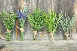 different fresh herbs posy against background of wood