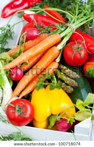 Different fresh vegetables in a box