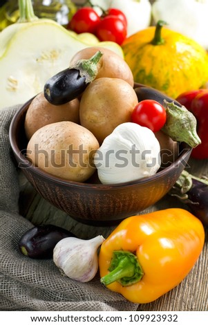 Different fresh vegetables in the bowl