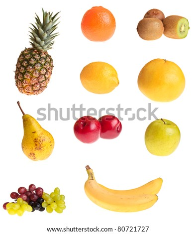 Different fruits on white isolated background