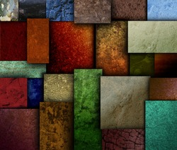 Different geometric square and rectangle textured patterns with many earth tone colors. Use it for a decorative grunge background.