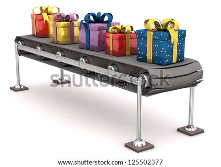 Different gifts on the line. White background.