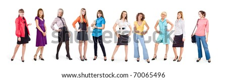 Different girls stand on a white background
