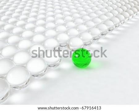 Different glass green ball