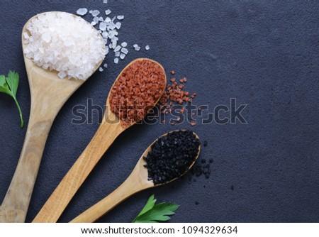Different gourmet varieties of salt - black and red Hawaiian variety #1094329634