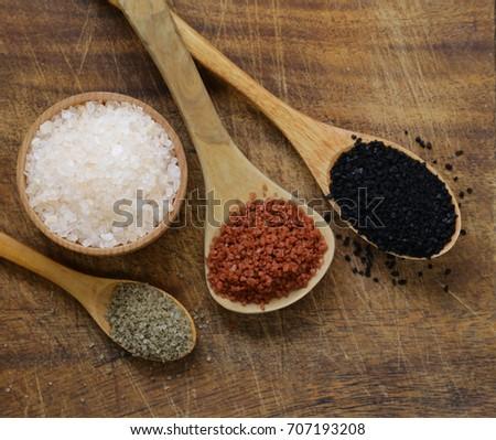 Different gourmet varieties of salt - black and red Hawaiian variety #707193208