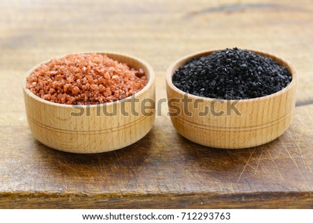 Different gourmet varieties of salt - black and red Hawaiian variety #712293763